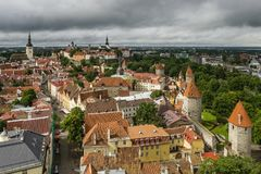Breathtaking aerial view of the medieval towers and the old town of Tallinn, Estonia, from the top of the St. Olav`s bell tower stock photography