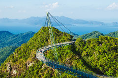 Breathtaking aerial view with Sky bridge, symbol Langkawi, Malaysia. Adventure holiday. Modern technology. Tourist attraction. Tra Stock Photography