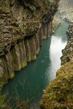Gokase river running through Takachiho gorge royalty free stock photo