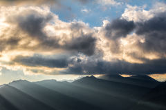 Breathtaking atmosphere of mountain sunrise Stock Photos