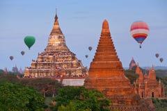 Breathtaking Bagan Sunset Experience - colorful hot air balloons flying over Bagan, Mandalay division, Myanmar