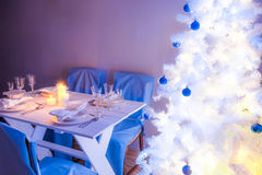 Breathtaking Christmas table setting for Christmas eve Royalty Free Stock Image