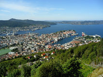 Breathtaking cityscape of Bergen view from the top of Mount Floyen, Bergen Stock Images