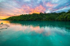 Breathtaking colorful sky at sunset in Indonesia Royalty Free Stock Images