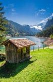 Breathtaking dawn at mountain lake in Gosau, Alps Stock Photos