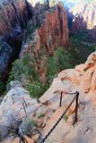 Breathtaking Descent from Angels Landing, Zion National Park, Utah royalty free stock image