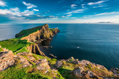 Breathtaking dusk at the Neist point lighthouse in Scotland Royalty Free Stock Photos