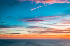 Breathtaking dusk over ocean as background Royalty Free Stock Photo