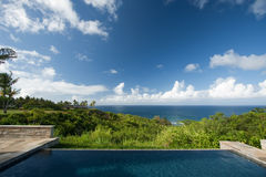 Breathtaking Hawaiian Ocean View Deck and Pool Stock Photos
