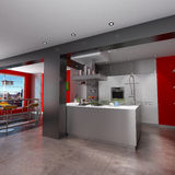 Breathtaking kitchen. 3D rendering of a magnificent  red and grey kitchen with breathtaking view Stock Photos