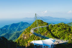 Breathtaking landscape with cable-stayed bridge, symbol Langkawi, Malaysia. Adventure holiday. Modern technology. Tourist attracti Royalty Free Stock Images