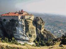 A breathtaking landscape of Meteora in central Greece. A fantastic landscape of Meteora in central Greece. The photo represents a built complex of Eastern Stock Image