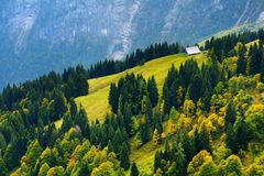 Breathtaking lansdcape of mountains, forests and small Bavarian villages in the distance. Scenic view of Bavarian Alps with majest Royalty Free Stock Photo