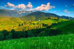 Breathtaking lata wiejski krajobrazowy pobliski otręby, Transylvania, Rumunia, Europa zdjęcia stock