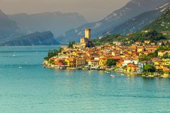 Breathtaking Malcesine tourist resort and high mountains, Garda lake, Italy Royalty Free Stock Photography