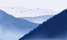 Breathtaking mountain landscape. Cranes fly over mountain range.  Mountains applied with ized brush painting style Royalty Free Stock Photos
