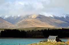 Breathtaking nature. Landscape of lake Tekapo and The Church of the Good Shepherd Stock Photos