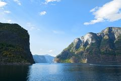 Aurlandsfjord and Naeroyfjord - UNESCO protected fjord - cruise from Flam to Gudvangen on Norway in a Nutshell Tour. stock photography