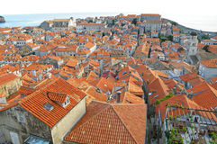 Breathtaking orange tiled rooftops view of the old city of Dubrovnik Royalty Free Stock Photography