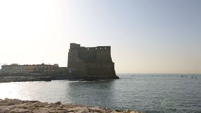 Breathtaking panorama of Egg castle in Naples, view from seafront, sequence. Stock footage stock footage
