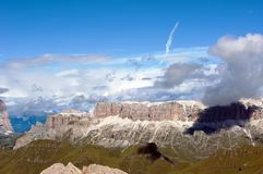 Breathtaking panorama from Marmolada mountain Stock Image