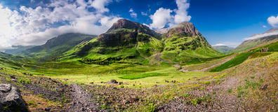Breathtaking panorama of the mountains in Glencoe at sunrise, Scotland Stock Photography