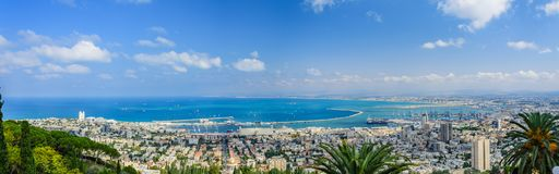 Amazing panorama of tropical bay. Breathtaking panoramic view of Haifa Bay with tropical coastline of Mediterranean Sea in Israel royalty free stock images