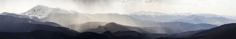 Breathtaking panoramic view of magnificent foggy Carpathian moun Stock Image