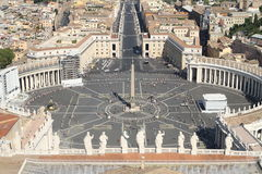 Breathtaking panoramic view of St. Peter's square in Vatican Cit. Beautiful breath taking panoramic view of St. Peter's square in Vatican City 2 Royalty Free Stock Images