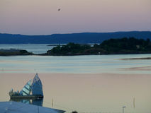 Breathtaking pastel color layer of sky before sunrise over the Oslo Fjord Royalty Free Stock Photography
