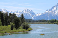 Breathtaking and Peaceful Grand Teton National Park. Relaxing canoe ride in Grand Teton National Park Royalty Free Stock Photos