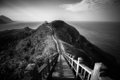 Breathtaking scenery of long flight of stairs in Taiwan stock photos