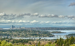 Seattle and Lake Washington from Altitude. Beautiful Lake Washington Snakes and Turns in the Foreground as the Seattle Skyline Sits Quietly in the Distance Royalty Free Stock Photos