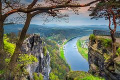 Beautiful spring panorama with Elbe river, Bastei, Saxon Switzerland, Germany Royalty Free Stock Image