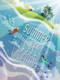 Breathtaking summer poster. Design - underwater world with scuba diver Stock Image