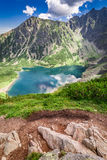 Breathtaking sunrise at Czarny Staw Gasienicowy in Polish Mountains. Europe Stock Photography