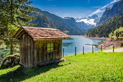 Breathtaking sunrise at Gosausee lake in Gosau, Alps Royalty Free Stock Images