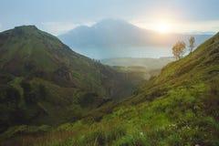 Breathtaking sunrise views on Batur volcano, Bali Stock Image