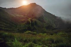 Breathtaking sunrise views on Batur volcano, Bali Royalty Free Stock Images