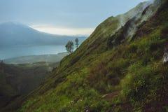 Breathtaking sunrise views on Batur volcano, Bali Stock Photo