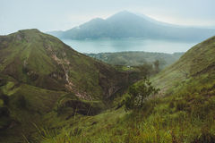 Breathtaking sunrise views on Batur volcano, Bali Stock Photos
