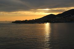 The breathtaking sunset on the Iles Sanguinaires Bloody Islands near Ajaccio, Corsica, France.  Stock Photography