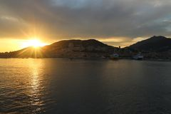 The breathtaking sunset on the Iles Sanguinaires Bloody Islands near Ajaccio, Corsica, France.  Royalty Free Stock Photo