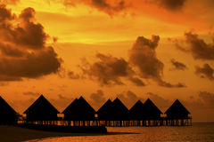 Breathtaking sunset in the Maldives royalty free stock photos