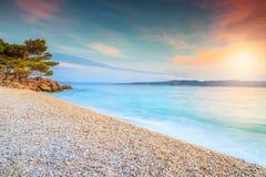 Breathtaking sunset over the sea, near Makarska, Brela, Dalmatia, Croatia Royalty Free Stock Photos