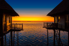 Breathtaking sunset in Randeli, the Maldives royalty free stock photo