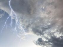 Breathtaking thunder and clouds in the sky, photographed in Bloemfontein, South Africa