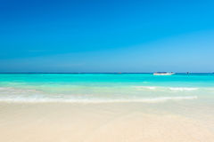 Breathtaking turquoise sea, Exotic beach with gentle wave Royalty Free Stock Images