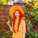 Breathtaking valentines day background. Retro girl with red lips in stylish yellow dress in dots in beautiful summer roses garden. Redhead model with plait on royalty free stock images