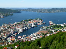 Breathtaking view of Bergen Harbor and the Cityscape as Seen from Mt, Floyen in Bergen, Norway stock image